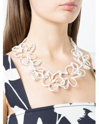 Oscar de la Renta - White Botanical Scribble Necklace - Lyst