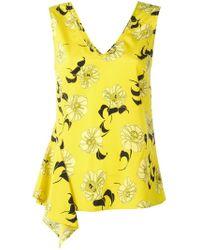 P.A.R.O.S.H. - Yellow Split Floral Print Blouse - Lyst