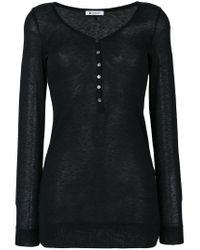 Dondup | Black Buttoned Neck Jumper | Lyst