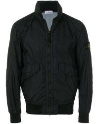Stone Island - Black Logo Patch Bomber Jacket for Men - Lyst