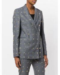 MSGM - Gray Embellished Pinstripe Suit Jacket - Lyst