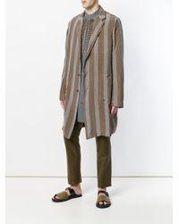 Uma Wang - Brown Striped Panel Oversized Coat for Men - Lyst