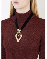 Saf Safu - Black Heart Ribbon Necklace - Lyst