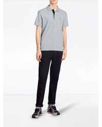 Burberry - Gray Tartan Trim Detail Polo Shirt for Men - Lyst