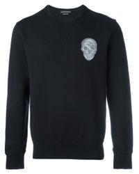 Alexander McQueen | Black Skull Embroidered Sweatshirt for Men | Lyst