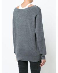 T By Alexander Wang Gray Dual Layered Bardot Sweater