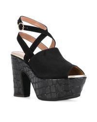Pollini - Black Crocodile-effect Platform Sandals - Lyst