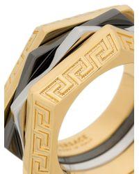 Versace - Metallic Greek Keys Ring for Men - Lyst