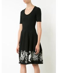 Alexander McQueen | Black Embroidered Flared Dress | Lyst