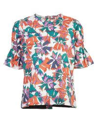 Lareida - Multicolor Graphic Print Flared Sleeve Top - Lyst