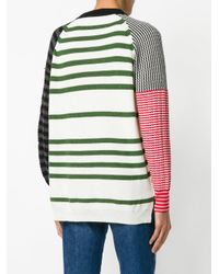 Sonia Rykiel - White Striped Panelled Jumper - Lyst