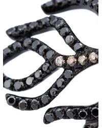 Rosa De La Cruz - Black Long Diamond Feather Ring - Lyst