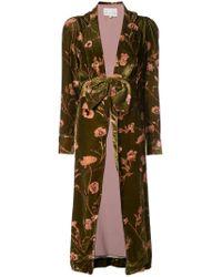 Johanna Ortiz - Green Floral Belted Coat - Lyst