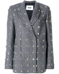MSGM - Gray Embellished Pinstripe Suit Jacket - Lyst