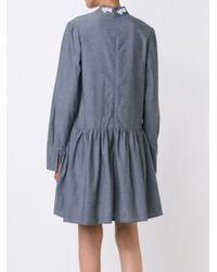 Suno - Gray Macrame Insert Chambray Dress - Lyst