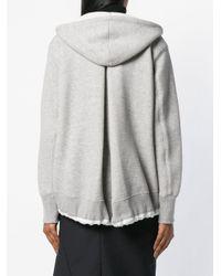 Sacai - Gray Hooded Zip Cardigan - Lyst