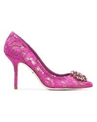 Dolce & Gabbana - Pink Belucci 90 Lace Pumps With Crystals - Lyst