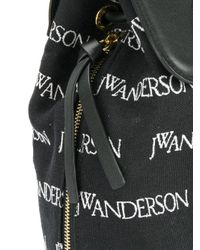 J.W. Anderson - Black Pierce Logo Embroidered Backpack - Lyst