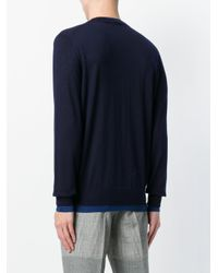Alexander McQueen Blue Contrasting Hem Detail Sweater for men