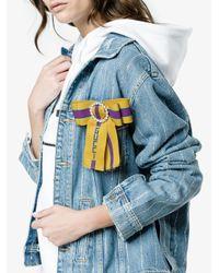 Gucci - Multicolor Crystal Bow Slogan Brooch - Lyst