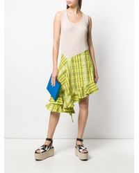 KENZO Yellow Asymmetrical Ruffle Strapped Dress
