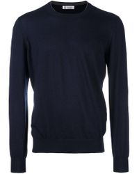 Brunello Cucinelli - Blue Crew Neck Pullover for Men - Lyst