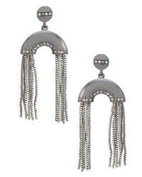 Camila Klein Metallic Multiple Chains Long Earrings