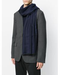Z Zegna | Blue Classic Frayed Scarf for Men | Lyst