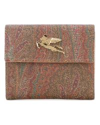 Etro - Brown - Metallic Plaque Bi-fold Wallet - Women - Cotton/polyester/polyurethane/pvc - One Size - Lyst