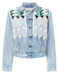 Levi's - Blue Short Embroidered Denim Jacket - Lyst
