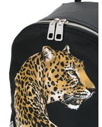 Dolce & Gabbana Black Leopard Appliqué Backpack for men
