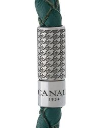Canali - Green Woven Bracelet for Men - Lyst