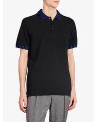 Burberry - Black Striped Trim Polo Shirt for Men - Lyst