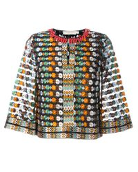 Tory Burch - Multicolor Embroidered Floral Blouse - Lyst