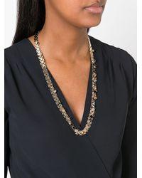 Lanvin - Metallic Embellished Stone Necklace - Lyst