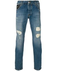 John Richmond - Blue Distressed Fitted Jeans for Men - Lyst