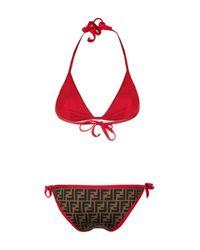 Fendi - Black Logo Printed Bikini Set - Lyst