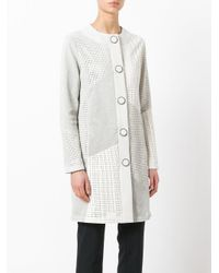 DROMe - White Collarless Leather Coat - Lyst