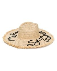 Miu Miu Natural Embroidered Straw Hat