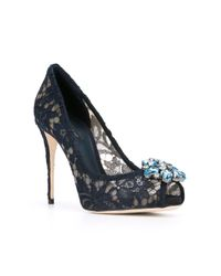Dolce & Gabbana - Blue Embellished Lace Pumps - Lyst
