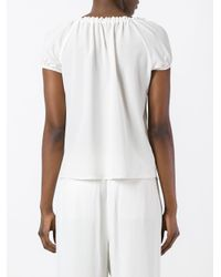Etro - White Pleated Trim Blouse - Lyst
