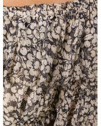 Zimmermann Multicolor Off-shoulder Floral Ruffle Top