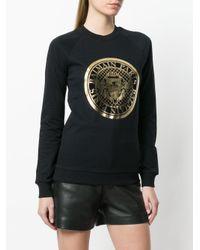 Balmain - Black Logo Medallion Sweatshirt - Lyst