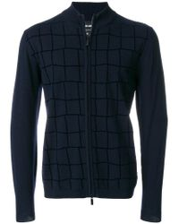 Giorgio Armani | Blue Check Zipped Cardigan for Men | Lyst