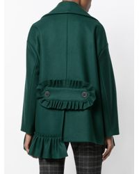 Erika Cavallini Semi Couture | Green Pocketed Double Breasted Short Coat | Lyst