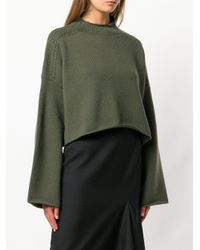 J.W. Anderson - Green Loose Cropped Knit Sweater - Lyst