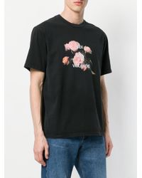 M I S B H V - Black Slogan Floral Print T-shirt for Men - Lyst