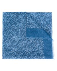 Canali - Blue Circle Pattern Scarf for Men - Lyst