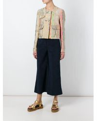 MSGM - Blue Faux Suede Cropped Trousers - Lyst