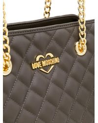 Love Moschino - Gray Double-chain Quilted Shoulder Bag - Lyst
